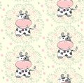 Seamless pattern babies hand draw with cows Royalty Free Stock Image