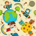 Seamless pattern baby boy in space