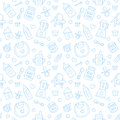 Seamless pattern baby food, pastel color, vector illustration. Infant feeding thin line icons. Cute repeated blue texture, baby it