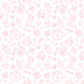 Seamless pattern baby food, pastel color, vector illustration. Infant feeding thin line icons. Cute repeated pink texture, baby it