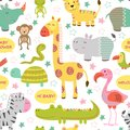 Seamless pattern with baby jungle animals on white background