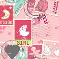 Seamless pattern with baby postage stamps Stock Images