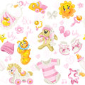 Seamless pattern of baby stuff its a girl clothing toy and Royalty Free Stock Photos