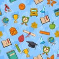 Seamless pattern back to school on blue background Royalty Free Stock Photo