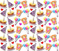 Seamless Pattern Background with Birthday Elements