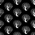 Seamless pattern background black and white tree with branches leaves vector Stock Images