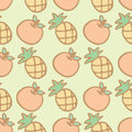 Seamless pattern background of cartoon pineapple and orange vector illustration Royalty Free Stock Photos