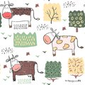 Seamless pattern background with cow. Vector illustration. Royalty Free Stock Photo