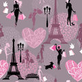 Seamless pattern background for fashion effel tower hearts with calligraphic text i love shopping girls silhouettes with shopping Royalty Free Stock Photos