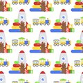 Seamless pattern background full kid toys cartoon cute graphic stuff play childhood baby room vector illustration