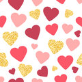 Seamless pattern background with gold glitter and pink hearts. Love concept. Cute wallpaper. Good idea for your Wedding