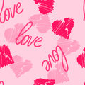 Seamless pattern background with hand-drawing hearts and love word for use in design for valentines day or wedding