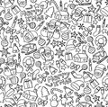 Seamless pattern background Merry x& x27;mas, Christmas symbol icon kids hand drawing set illustration Royalty Free Stock Photo