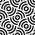 Seamless pattern background ornament of striped concentric circles. Retro mosaic of arches in black and white. Vector