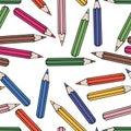 Seamless pattern background pencil. School design vector. Study wallpaper.