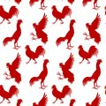 Seamless pattern background with red roosters. Symbol of 2017 ye