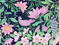 Seamless pattern, background with spring  flowers magnolia,  sak Royalty Free Stock Photo
