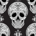 Seamless pattern, background with sugar  skull and floral pattern Royalty Free Stock Photo