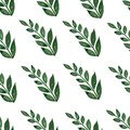 stock image of  Seamless pattern, background, texture print with light watercolor hand drawn green color dusty leaves, forest herbs, plants.