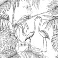 Seamless pattern, background. with tropical plants and flowers with white orchid flowers and tropical birds.n