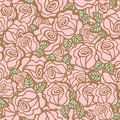 Seamless pattern background of vintage style roses flower vector illustration Stock Image