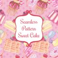 Seamless pattern, background watercolor cake