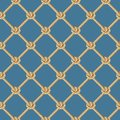 Seamless pattern, background, yellow rope woven in the form fishing ne Royalty Free Stock Photo