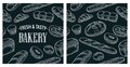 Seamless Pattern for bakery. Vector color hand drawn vintage engraving