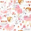 Seamless pattern with Ballerina. Cute ballerina girl. Ballerina watercolor