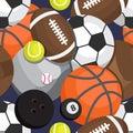 Seamless pattern of balls. Football, volleyball, besketbol, golf