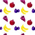 Seamless pattern with banana, grapes, fig, pomegranate with blots and stains on a white background. Watercolor art. Freehand