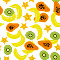 Seamless pattern with banana papaya kiwi carambola on the white background vector Stock Photo
