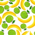 Seamless pattern of bananas and apples vector illustration Royalty Free Stock Images