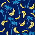 Seamless pattern with bananas and palm trees. Stylish cartoon tr