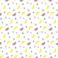 Seamless pattern with bananas and watermelon, triangles on white background. Memphis vector background. Bright summer