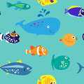 Seamless pattern with bare marine tropical fish Royalty Free Stock Photo