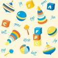 Seamless pattern with basic toys bright and words Stock Photography