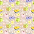 Seamless pattern bath soaps bombs doodle flowers Stock Image