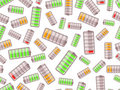 Seamless pattern with batteries Royalty Free Stock Image