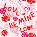 Seamless pattern: BE MINE LOVE Royalty Free Stock Photo