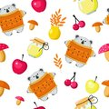 Seamless pattern bear and autumn harvest. Set of mushrooms, apples, berries, honey, leaves for the design of wallpaper, wrappers,