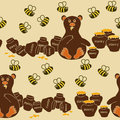 Seamless pattern of bear and bees humorous cartoon eating honey Stock Photo