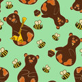 Seamless pattern with bears and bees funny cartoon Stock Photos