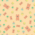 Seamless pattern with bears piramodka balls and baby s dummies pacifiers can be used for wallpaper fills web page Stock Image
