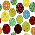 Seamless pattern. Beautiful Easter eggs, painted with different patterns. Suitable as wallpaper, for packing gifts for Easter.