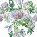 Seamless pattern with beautiful flowers. Lilia. Calla. Hydrangea.