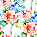 Seamless pattern with beautiful hydrangea blue flowers watercolor illustration Stock Photography