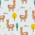 Seamless pattern beautiful llama with tree and love