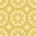 Seamless pattern with beautiful mandalas in lemony colors vector illustration Royalty Free Stock Image