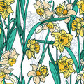 Seamless pattern with beautiful narcissus flowers in mosaic style